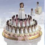 Composicion tarta beige niña comunion
