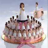 composicion tarta niña flor