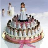 composicion tarta niña beige y rosa