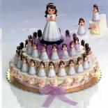 composicion tarta niña flor rosa-morada