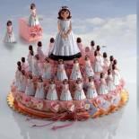 composicion tarta niña comunion cajitas rosa