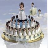 Composicion de tarta azul  niña comunion
